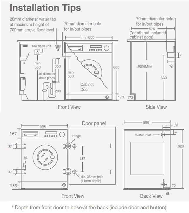 Whirlpool WFCI75430 7kg(wash)/5kg(dry) 1400rpm Built-in Front-Loading Washer-Dryer (H: 820mm)